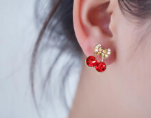 BENA  Red Cherry earrings female temperament personality simple wild earrings