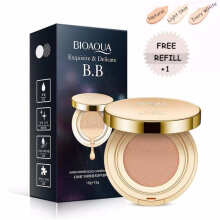 Bioaqua Exquisite and Delicate BB Cream Air Cushion Pack Gold Case SPF 50++ Foundation Make Up Wajah + Free Refill
