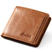 L'ALPINA 671052036 Men's leather Cowhide two fold horizontal section leather card holder wallet multi-function wallet-Brown