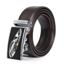 Naviforce Men's Fashion PU Belt Western Strap Automatic Buckle Business Belt Dark brown