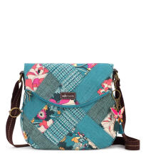 Sakroots Foldover Crossbody Sling Bag Teal Flower Power
