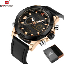 NAVIFORCE Original Luxury Brand Leather Quartz Watch Black Gold
