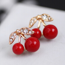 Farfi Women Red Cherry Clear Rhinestone Ear Studs Beads Golden Alloy Leaves Earrings