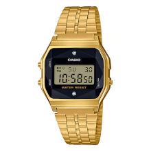 Casio Vintage Men Gold Digital Watch with Natural Diamonds A159WGED-1