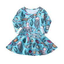 Little Girls Fashion Cotton Princess Dress Marine Animal Pattern Daily Wearing 130