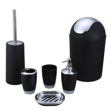 [OUTAD] 6pc Bathroom Accessories Set Bin Soap Dispenser Toothbrush Tumbler Holder Black
