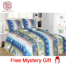 Vintage Story - Shabby Bed Cover Set Korea Size King 220x240 cm - Blue
