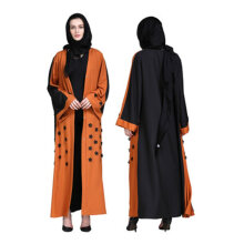 COZIME Women Abaya Robe Stitching Color Musulmane Turkish Abaya Muslim Dress Cardigan Orange Size L