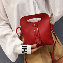 [COZIME] Mini Bag Female Fringes Sloping Casual Lady Single Shoulder Bag Women's Bag Wine Red1