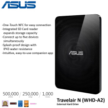 Asus Travelair WHD-A2 - Wireless Hard Drive and SD Card reader with One - Touch NFC Black