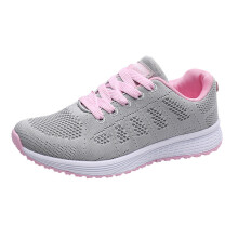 BESSKY Women Fashion Mesh Round Cross Straps Flat Sneakers Running Shoes Casual Shoes_
