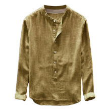 FUNMOON Fashion Mens Autumn Winter Button Casual Linen and Cotton Long Sleeve Top Blouse Button Casual Linen and Cotton brown - L