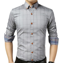 BestieLady 1311 Plus Contrast Cuffs Slim Plaid Shirts