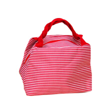 Showla colorful striped canvas insulated lunch bag storage bag