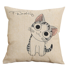 Jantens Cute cat pattern linen cushion cover decorative pillowcase home decoration sofa hug pillowcase 45x45cm Beige