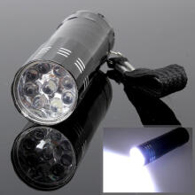 OKDEAL Mini 9 LED Flashlight 3 AAA Battery Operated Pen Light Torch with Lanyard Dark Black