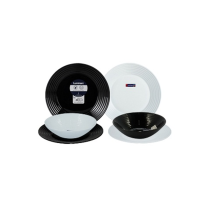 LUMINARC Dinner set Harena Black & White set of 6