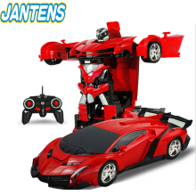 Jantens 2In1 RC Car Sports Car Transformation Robots Models Remote Control Deformation Car red orange