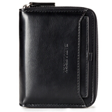 Baellerry Vintage PU Leather Short Zipper Card Holder Wallet For Men Black