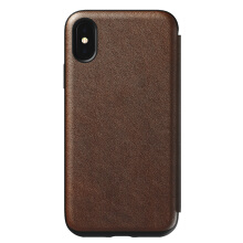 Nomad Rugged Folio Leather Case for iPhone XS / iPhone X - Brown