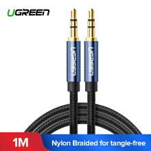 UGREEN Kabel Audio Cable 1Meter 3.5mm Nylon Bradied Audio Cable Compatible for iPhone, iPad or Smartphones, Tablets, Media Players Blue