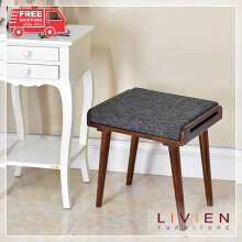 2 PCS Kursi Stool Bangku Kotak Walnut - LIVIEN FURNITURE