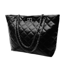 [LESHP]Fashionable Women PU Leather Shoulder Handbags Chain Single Bags Black