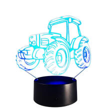 Farfi 3D Tractor Table Lamp Bedroom Touch Night Light 7 Colors LED Home Decor Black