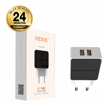 VIDVIE 2 USB Port Charger PLE204 S / Adaptor Charger / Kepala Charger White Black