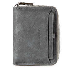 Baellerry Vintage PU Leather Short Zipper Card Holder Wallet For Men Grey