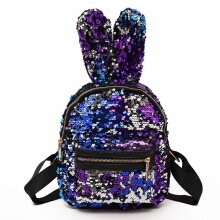 YOOHUI Bling sequins cute big rabbit ears backpack teenager girl mochila shoulder bag female mini travel bag Blue