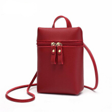 Jantens Mini shoulder bag PU leather coin purse black small lady Messenger bag candy color bag girl Red