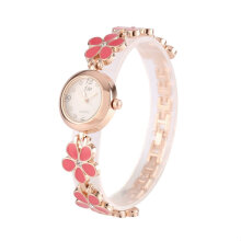 [LESHP]Korean Fashion Daisies Flower Rose Gold Bracelet Wrist Watch Women Girl gift Pink