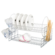 Jantens S-Shaped Dish Rack Set 2-Tier Plated Iron Plate Dish  Bowl Rack Kitchen Shelf White