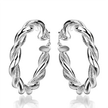 SESIBI Exaggerate Silver Round Earrings Twist Dangler Fashion Women Jewelry Pendientes -One Size - Silver