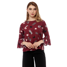 KORZ Printed Blouse With Pleat Sleeve