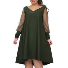 Mokoado Plus Size Women Long Sleeve Baggy Midi Dress Ladies Party V Neck Tunic Dress Top_Army Green XXL