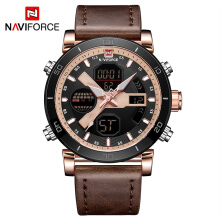 NAVIFORCE 9132 Luxury Men's LED Analog Quartz Watch Men Army Military Sport Watches Male Waterproof Date Wristwatch Rose Gold