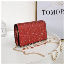 [LESHP]Stylish Chain Bag Women Cross Body Sequins Square with Metal Tassel Red