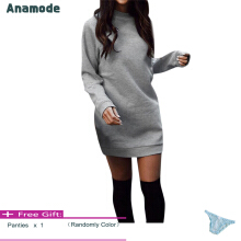 Anamode Winter Plus Velvet Thickening Dresses Women Warm Mini Dress Long Sleeve -Grey -