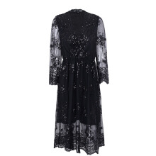 V-neck long-sleeved sequin party dress female sense dress female
