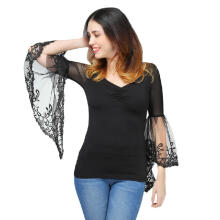 WEDO V Neck Bell Sleeve Sheer Lace Panel T-Shirt Women Fashion Top Solid Color Fall Spring Black XXL