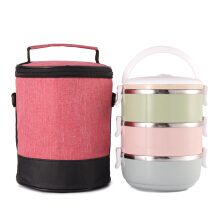 JDwonderfulhouse Lunch Tote Bag Cooler Insulated Handbag Zipper Storage Containers Lunch Box Shoulder Bag Pink