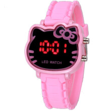 PEKY Pink Cute Hello Kitty Kids Watch Fashion Cartoon Cat Girl Clock