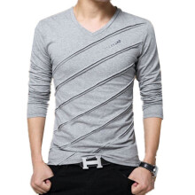 BestieLady 1180 Plus Ribbed Striped Long Sleeve T-Shirt