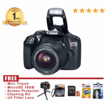 Canon EOS Rebel T6 / EOS 1300D Kit 18-55 IS II - Hitam