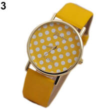 Farfi Women Geneva Sweet Small Polka Dot Dial Faux Leather Quartz Wrist Watch