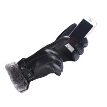 SiYing outdoor driving riding leather gloves can touch the screen men's warm gloves Black