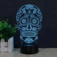 Farfi Skull Touch 3D Night Light USB LED Lamp Bedroom Nightlight Bulb as the pictures
