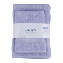 JOYHOME  Woven Piece Dyed Terry Towel With Dobby Border BUY 2 GET 1 ( 2 Bath + Free 1 Travel Towel) - LILAC